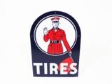 1930S HOOD TIRES PORCELAIN AUTOMOTIVE GARAGE SIGN