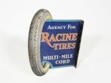 EARLY 1920S RACINE TIRES TIN LITHO GARAGE FLANGE SIGN