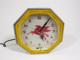 CIRCA 1930S-40S MOBIL OIL NEON FILLING STATION WALL CLOCK