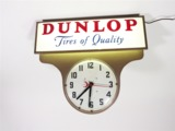 1950S DUNLOP TIRES GARAGE CLOCK WITH LIGHTED ADVERTISING MARQUEE