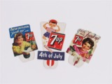 THREE 1943-54 7UP SODA CARDBOARD STORE DISPLAY BOTTLE-TOPPERS