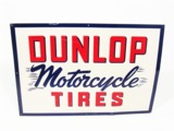 EARLY 1950S DUNLOP MOTORCYCLE TIRES EMBOSSED TIN GARAGE SIGN