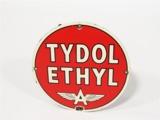 CIRCA 1930S-40S TYDOL ETHYL PORCELAIN PUMP PLATE SIGN