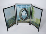 LATE TEENS-EARLY 20S UNITED STATES TIRES TIN LITHO GARAGE DISPLAY SIGN