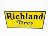 LATE 1920S-EARLY 30S RICHLAND TIRES EMBOSSED TIN AUTOMOTIVE GARAGE SIGN