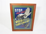 LATE 1930S WEED TIRE CHAINS SERVICE STATION CARDBOARD SIGN