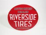CIRCA 1930S-40S RIVERSIDE TIRES PORCELAIN SERVICE STATION SIGN