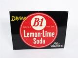 LATE 1940S-EARLY 50S B-1 LEMON-LIME SODA EMBOSSED TIN SIGN