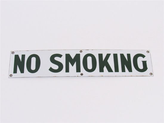 CIRCA 1940S NO SMOKING PORCELAIN SERVICE STATION FUEL ISLAND SIGN