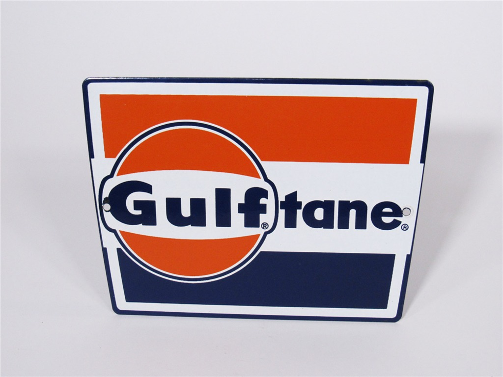 LATE 1950S-EARLY 60S GULF OIL PORCELAIN PUMP-PLATE SIGN