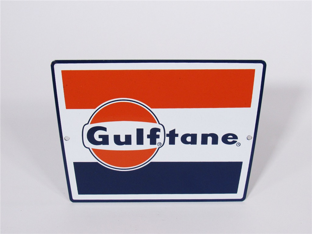 LATE 1950S-EARLY 60S GULF OIL PORCELAIN PUMP PLATE SIGN