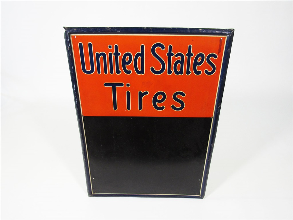 CIRCA 1920S UNITED STATES TIRES TIN LITHO SERVICE STATION MENU BOARD