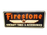 1946 FIRESTONE AIRCRAFT TIRES AND ACCESSORIES TIN AIRPORT HANGAR SIGN