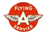 LARGE CIRCA 1940S FLYING A SERVICE EMBOSSED PORCELAIN SERVICE STATION SIGN