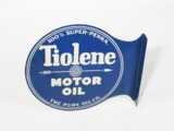 LATE 1920S-EARLY 30S PURE OIL TIOLENE MOTOR OIL TIN FLANGE SIGN