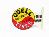 CIRCA LATE 1920S-EARLY 30S ODELL TIRES TIN AUTOMOTIVE GARAGE FLANGE SIGN