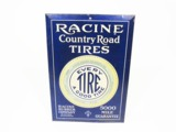 EARLY TEENS RACINE COUNTRY ROAD TIRES TIN LITHO AUTOMOTIVE GARAGE SIGN