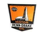 HIGHLY PRIZED 1930S PENN-DRAKE MOTOR OIL PORCELAIN FILLING STATION SIGN