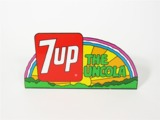 CIRCA LATE 1960S 7UP TIN SIGN WITH FLANGED BOTTOM