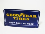 1930S GOODYEAR TIRES PORCELAIN SERVICE STATION TIRE RACK-TOP SIGN