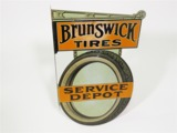 LATE TEENS-EARLY 20S BRUNSWICK TIRES SERVICE DEPOT TIN FLANGE SIGN