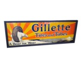 1930S GILLETTE TIRES AND TUBES TIN AUTOMOTIVE GARAGE SIGN