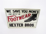 1920S HEXTER BROTHERS FOOTWEAR EMBOSSED TIN SIGN