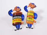 PAIR OF CIRCA 1940S JOHNSONS AUTO WAX SERVICE STATION DISPLAY CARDBOARD SIGNS