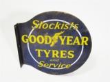 1930S GOODYEAR TYRES PORCELAIN GARAGE FLANGE