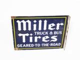 1930S MILLER TRUCK & BUS TIRES PORCELAIN FLANGE SIGN