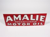 LATE 1940S-EARLY 50S AMALIE PENNSYLVANIA MOTOR OIL TIN FILLING STATION SIGN