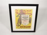 1923 DUNLOP MOTOR CYCLE TYRES DEALERSHIP DISPLAY POSTER