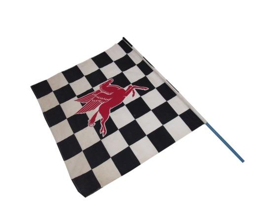 CIRCA 1950S MOBIL OIL RACEWAY CHECKERED FLAG