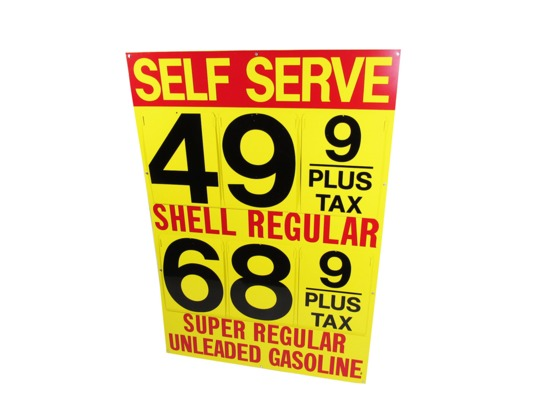 1960S SHELL OIL TIN SERVICE STATION FUEL ISLAND PRICE SIGN
