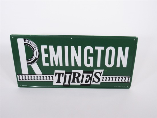 1971 REMINGTON TIRES EMBOSSED TIN AUTOMOTIVE GARAGE SIGN