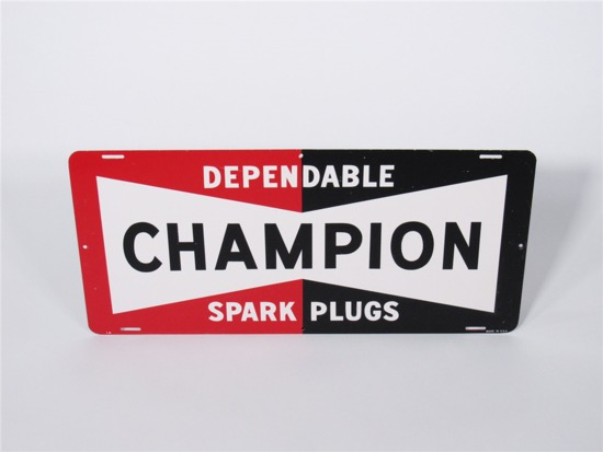 LATE 1950S-EARLY 60S CHAMPION SPARK PLUGS TIN GARAGE SIGN