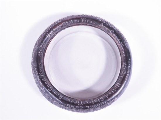 CIRCA LATE 1920S UNITED STATES TIRES EMBOSSED METAL AND GLASS AUTOMOTIVE GARAGE COUNTERTOP ASHTRAY