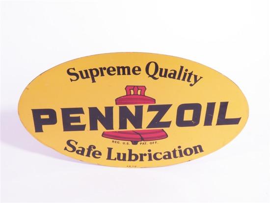 VINTAGE PENNZOIL MOTOR OIL TIN GARAGE SIGN