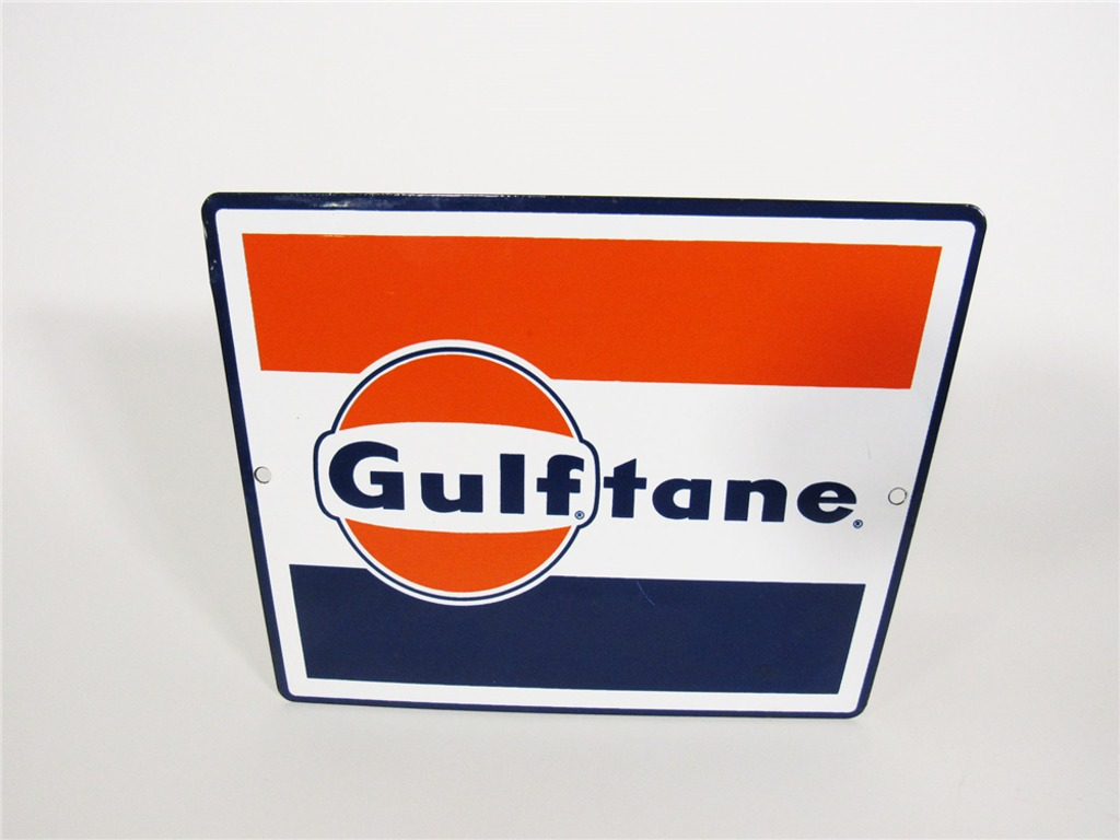 EARLY 1960S GULF OIL PORCELAIN PUMP-PLATE SIGN