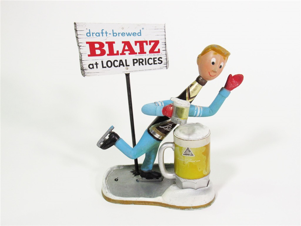 LATE 1950S BLATZ CAST-METAL BAR BACK TAVERN PIECE