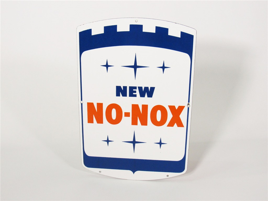 EARLY 1960S GULF NEW NO-NOX PORCELAIN PUMP-PLATE SIGN