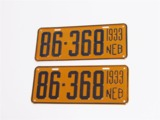 1933 STATE OF NEBRASKA EMBOSSED METAL LICENSE PLATES