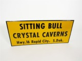 1950S SITTING BULL CRYSTAL CAVERNS EMBOSSED TIN SIGN