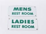 TWO 1950S CONOCO REST ROOM PORCELAIN SERVICE STATION SIGNS