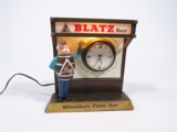 LATE 1950S-EARLY 60S BLATZ BEER CAST-METAL TAVERN WALL CLOCK