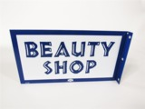 EARLY 1960S BEAUTY SHOP PORCELAIN FLANGE SIGN