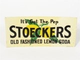 CIRCA 1920S-30S STOECKERS OLD FASHIONED LEMON SODA EMBOSSED TIN SODA FOUNTAIN SIGN