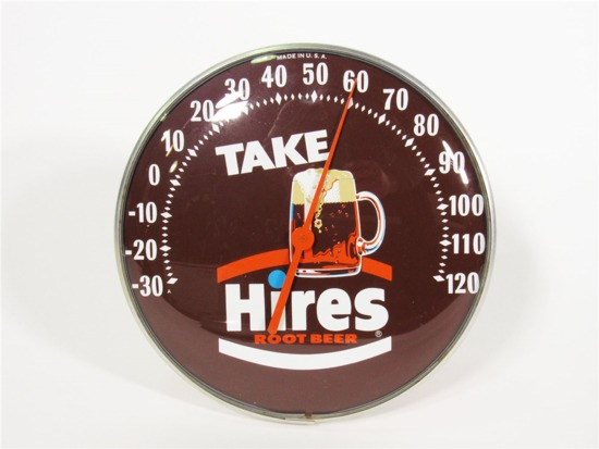 1960S HIRES ROOT BEER GLASS-FACED DIAL THERMOMETER