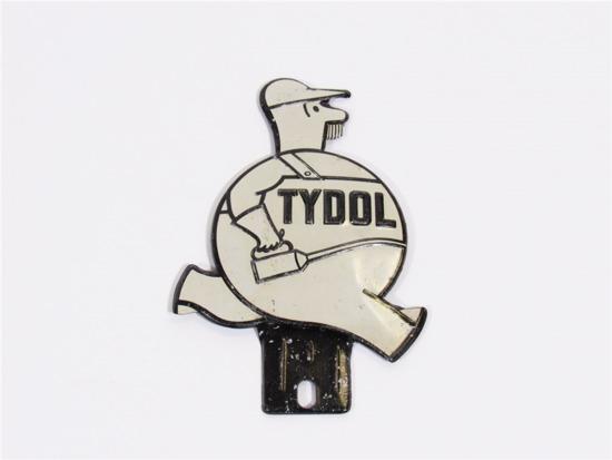 CIRCA 1930S TYDOL OIL TIN LICENSE PLATE ATTACHMENT SIGN