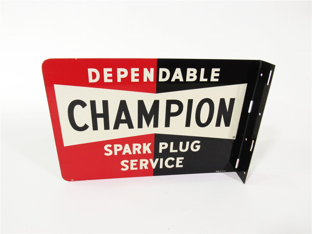 LATE 1950S-EARLY 60S DEPENDABLE CHAMPION SPARK PLUG SERVICE TIN GARAGE FLANGE SIGN